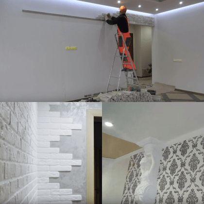 Ремонт стен, оклейка стен обоями в квартирах и домах Владивостока