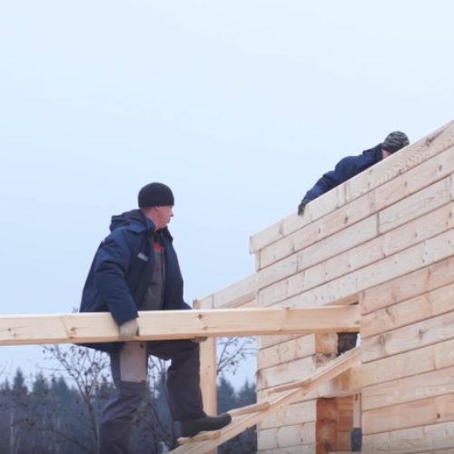 Строительство дома из бруса день четвёртый