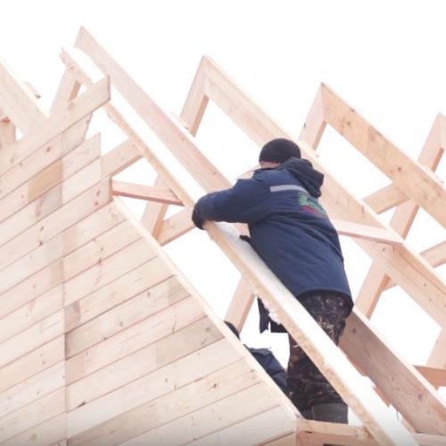 Строительство дома из бруса, день пятый