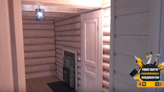 Внутренняя отделка бани в загородном доме Владивостока
