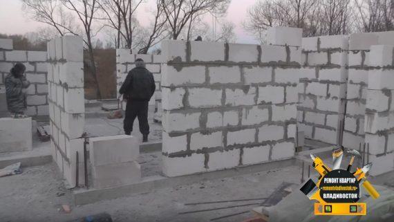 Строительство дома из газобетона зимой в пригороде Владивостока