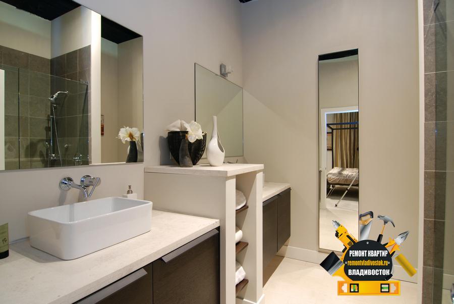 Современный дизайн ванной комнаты от наших дизайнеров из Владивостока