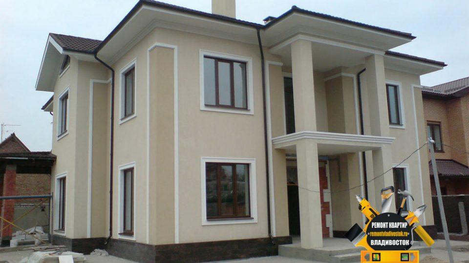 Отделка фасада дома штукатуркой от компании — «Ремонт квартир Владивосток»