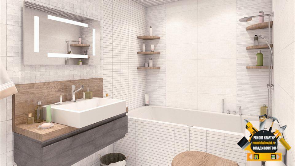Белая керамическая плитка в ванной и кухне